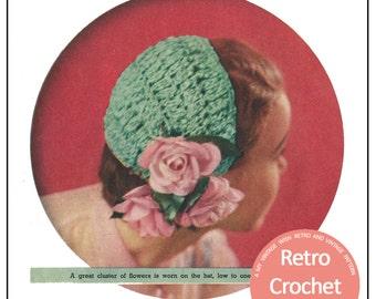 1950's Ribbon Half-Hat Crochet Pattern - PDF Crochet Hat Pattern - PDF Instant Download