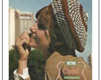 Crochet Beret Vintage 1970s Pattern - PDF Crochet Pattern  - PDF Instant Download