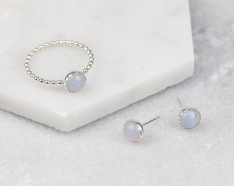 Sterling Silver Blue Lace Agate Gemstone Stud Earrings and Ring Set