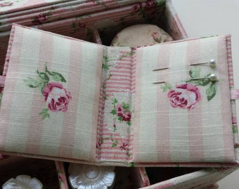 DIY kit for two needle cases, needle keepers or needle books, fabric covered cartonnage