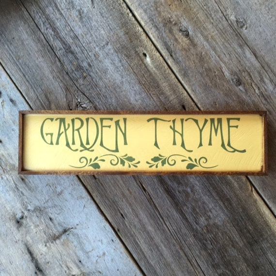 Garden thyme sign garden signs and decor country signs for Outdoor decorative signs