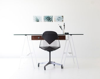 mid century modern desk, walnut desk, glass top table, with steel frame, home furniture