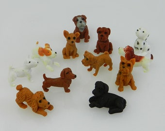 "Miniature DOGS, 12 little dogs for I Spy bags, party favors, toys, games, small toys, 1"" toys, I Spy, I Spy trinkets, Sensory bin"