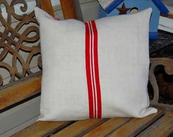 Vintage European Grain Sack Pillow Cover - Red and White Toile 18x18