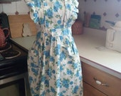 Apron #4 Vintage Ruffled Full Apron with Blue Roses