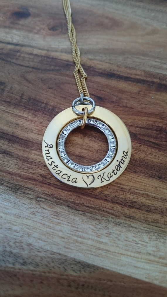 Hand Stamped Necklace with Swarovski Crystal Circle- Gold Stainless Steel