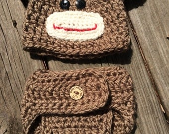 Crochet Little monkey photo prop, hat and diaper cover newborn, Chunky monkey Beanie Set