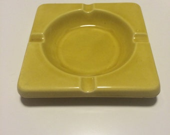 Chartreuse Yellow Ashtray - Made in Japan Nevco - Ceramic