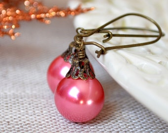 Hot Pink Christmas Earrings, Antiqued Brass, Kidney Earwires, Round Glass Pearl, Fun Holiday Jewelry