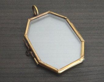 Octagon Glass Locket Bronze Flat double Pane Glass Locket pendant diy Jewelry See Through display Inv0028