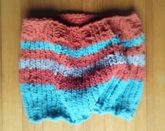 Knit Cowl, Striped Cowl, Neckwarmer, Chunky Cowl, Velvety Cowl, Scarf, Knit Scarf