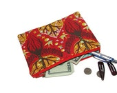 Tree Zipper Pouch, Coin Pouch, Notions Pouch, Toiletries, Cosmetics Pouch, Handmade with Tula Pink Birds & Bees, Tree of Life, red, yellow