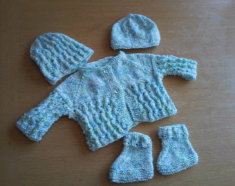 Baby's Hand Knit  Sweater  3 Piece Set  3-6 Months / Infant Clothing/ Baby Apparel/ Newborn Sweater Set/ Baby Knit Jacket/ Baby Shower Gift