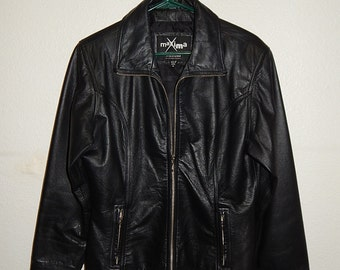 Wilsons Maxima Size M Womens Tailored Black Leather Lined Zipper Jacket