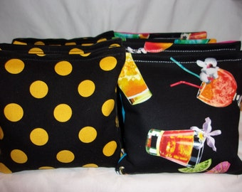 8 ACA Regulation Cornhole Bags - 4 Black and Yellow Polka Dot & 4 Mixed Cocktails Drinks
