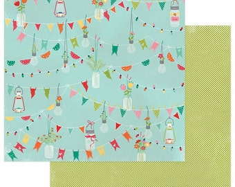 2 Sheets of Photo Play Paper HAPPY GLAMPER 12x12 Scrapbook Cardstock - Pennants (Camping Theme) HG2251