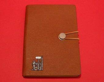 Public Footpath Hand Cast Pewter Motif on A6 Tan Journal Countryside Walker's Gift Walking Note book