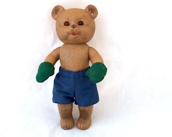 Antique Bear, Schildkröte Schildkrot German Celluloid Rubber Bear, Rheinische Gummi, Turtle Marking, Diamond Mark Mittens Shorts Glass Eyes