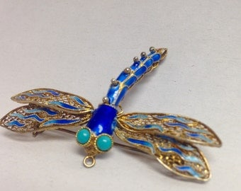 Vintage Chinese Art Deco Silver Blue Filigree Dragonfly Brooch/Dragonfly Pendant w/ Enamel Cloisonné Embellishments and Turquoise Cabochons