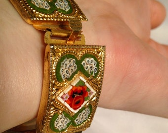 Vintage Gold-tone Italian Micro-Mosaic Poppy Flower Panel Bracelet