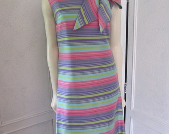 1960s Sleeveless Woven Silk Couture Dress, Size 6 - 8