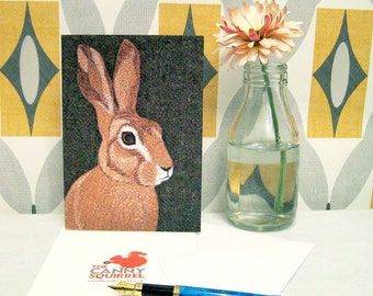 Hare greetings card - hare birthday card - blank greetings card - rabbit card - hare print - hare notecard - hare art card