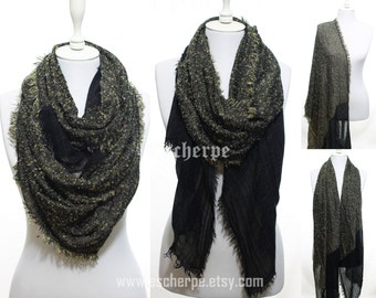 Black Cozy Warm Winter Scarf Winter Accessory Women Fashion Accessories Man Scarf Christmas Gifts Ideas For Her For Him
