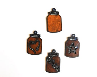 Mason Jars (3)  charms made out of rusted metal mix and match any three.