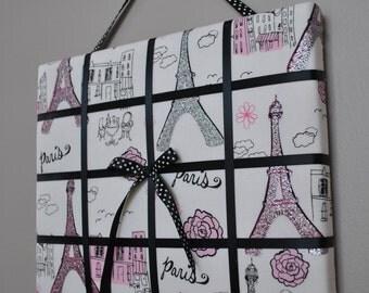 Memo board, key holder, memory board, vision board, fabric memo board, French memo board, notice board, photo board, bow holder, Paris
