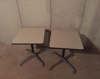 Herman Miller marked end table set mid century modern