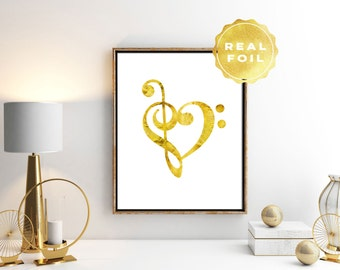 Real Gold Foil Music Heart Print 4x6 - 5x7 - Treble Bass Clef Art - Girly Decor - Gold Decor - Wall Art - Music Room Decor - Chic Decor