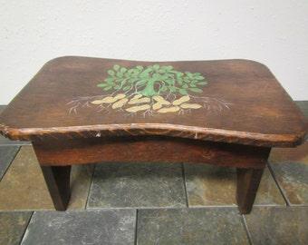vintage Wood Step Stool , childs bench , signed by designer & painter  D. L. Douglas 1984, kids furniture