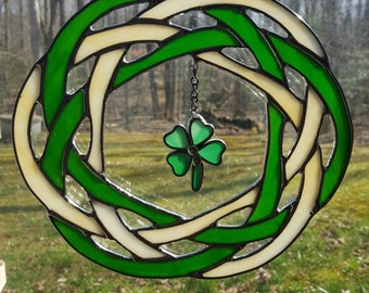 Stained Glass Celtic Circle and Four Leaf Clover