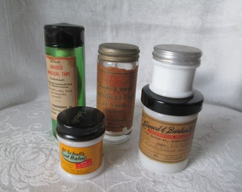 Apothecary/Prescription Bottles with Labels, 1940s Milk Glass and Green Glass, Umbilical Tape Bottle