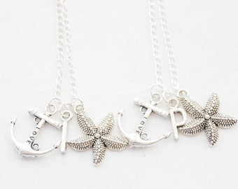 Starfish Anchor Necklaces 2 Anchor Necklaces Set of 2 Starfish Necklaces Best Friends Necklace Set Beach Wedding Favors Initial Necklace Set