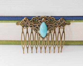 Victorian Hair Comb Edwardian Hair Comb Vintage Blue Hair Slide Victorian Hair Slide Romantic Jane Austen Hair Clip Decorative Hair comb