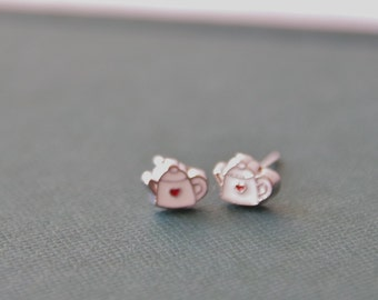 TIny Teapot Studs / Tea Lover Earrings / British Tea Earrings / Tea Lover Gift