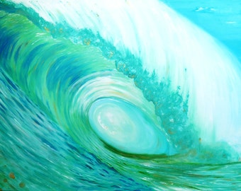 Ocean Wave Surf Art Large Acrylic Painting on Wood Panel Resin Coat 25x35 and Larger