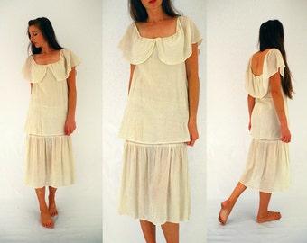 70s boho dress,  hippy wedding dress, midi dress cream,  tiered wedding dress, cheese cloth, wide scoop neck, Small - Medium UK 10 - 12