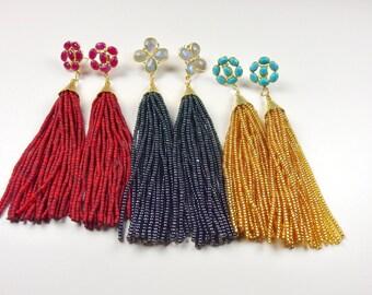 Multi Stud Tassel Earrings