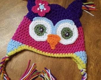Rainbow Owl Earflap Hat