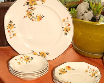 Vintage, 1940s, retro, dinner plates, Homer Laughlin, floral, oranges, early pattern #HLC375, shabby chic, table settings, One of a Kind