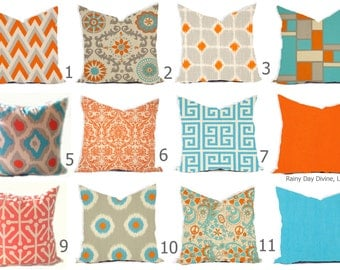 Pillow Covers - Orange Tangerine Blue Aqua Turquoise Natural Linen Ikat Modern- All sizes 16x16  18x18  Throw Toss Accent Pillow