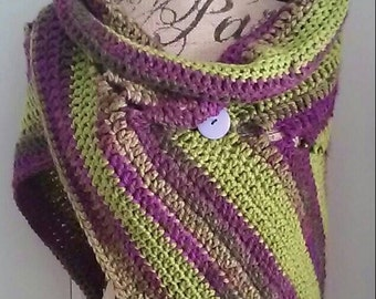 Crochet Fashion Shawl-Eggplant Garden