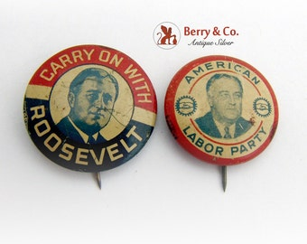 Vintage Election Pins Marks Roosevelt American Labor Party