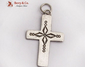 SaLe! sALe! Vintage Decorated Cross Pendant Sterling Silver