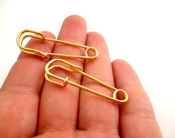 Golden Safety Pin Brooch Charm Pendants_CP5468706872_Supplies_Pin Brooch_Gold of 40 mm_pack 6 pcs