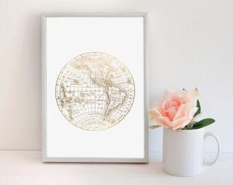 World Map Gold Foil Print, World Map Print, Gold World Map Print, Real Gold Foil Print, Modern Office Print, Travel Print, Wanderlust print