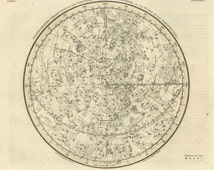 Star map- Northern Celestial Hemisphere map print - Antique Star Map - Professional Reproduction- Wall Zodiac Map- Astrology Celestial Map