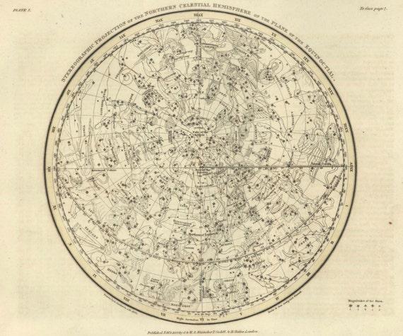 Wedding Star Chart: Star Map Northern Celestial Hemisphere Map Print Antique